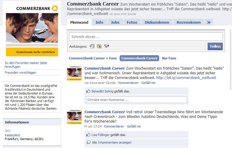Die Karriere-Fanpage der Commerzbank