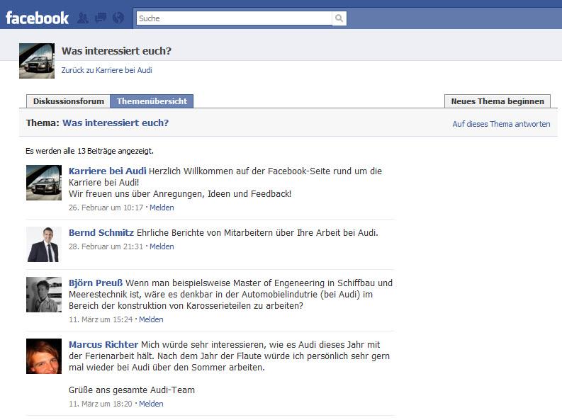 Interaktion geht auch anders: Diskussionsforum auf der Audi-Karriere-Fanpage
