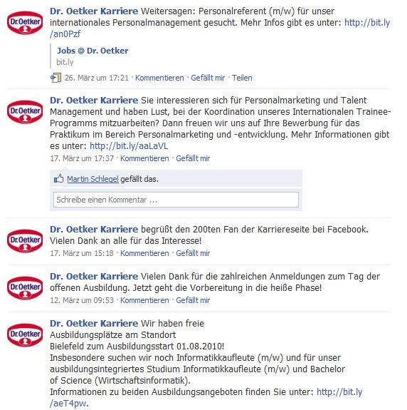 Pinnwand auf der Dr. Oetker Karriere-Fanpage. Interaktion mit den Fans geht anders