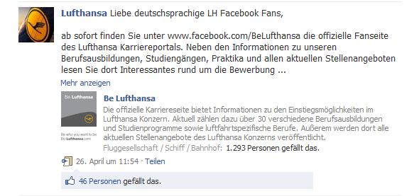 Bekanntmachung der Be Lufthansa-Fanpage auf der Fanpage der Lufthansa