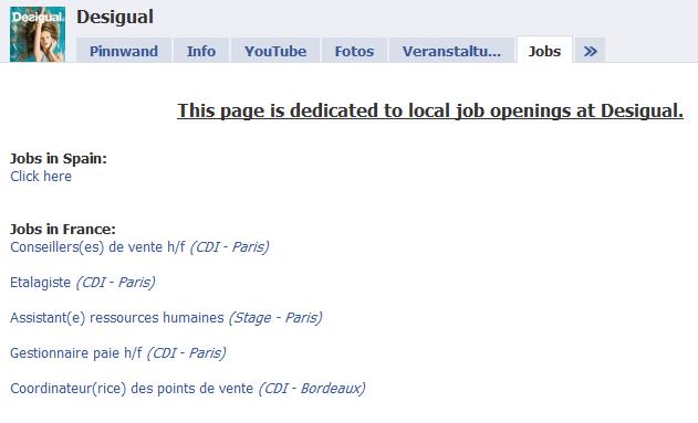 Jobmaske auf der Fanpage von Desigual