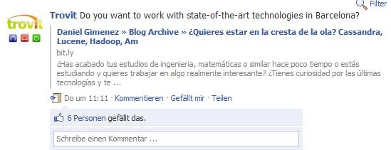 Jobposting auf der Fanpage von Trovit