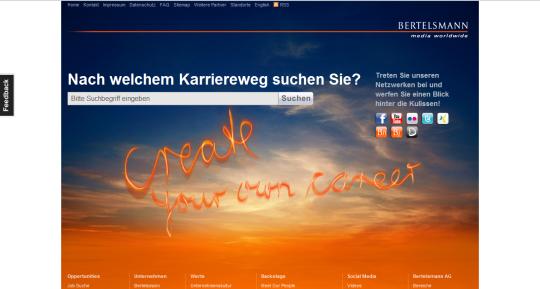 Das Createyourowncareer-Socialnet-Portal von Bertelsmann