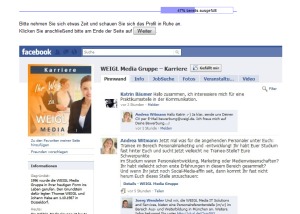 Fiktive Karriere-Fanpage Weigl Media Karriere
