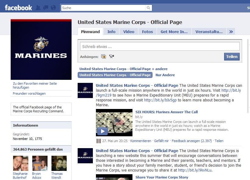 Karriere-Fanpage des USMC