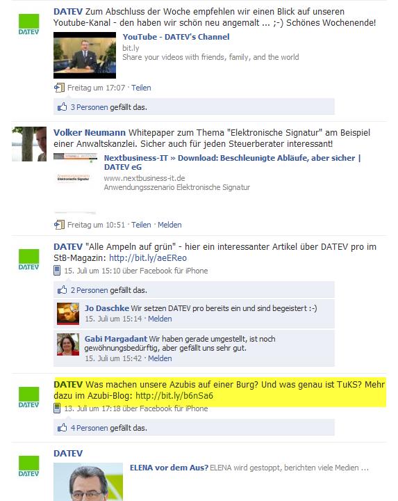 Fanpage der DATEV - die Infos für Azubis gehen auf der Wall unter