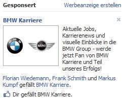 BMW Ad - auch BMW sucht Fans für seine Fanpage