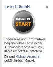Intech Ad auf Facebook - auf der Suche nach Fans auf Facebook