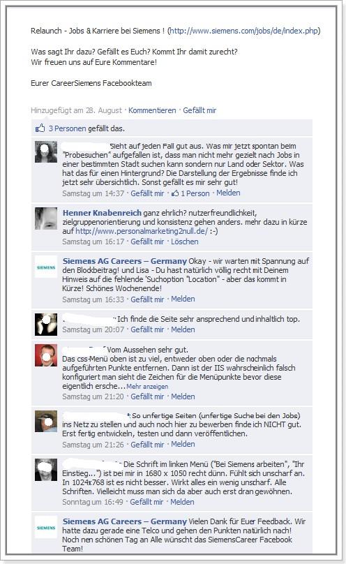 Feedback auf Siemens Karriere-Fanpage zur neuen Karriere-Website