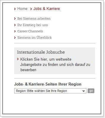 Navigation auf der Siemens Job & Karriere-Startseite