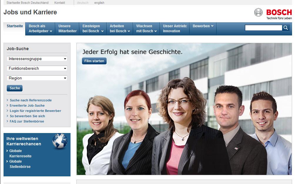 Startseite Bosch-Career mit Standardauflösung und ausgeblendeten Symbolleisten
