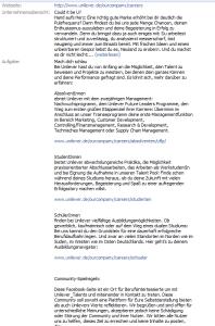 Textwüste auf dem Infotab der Unileverpage