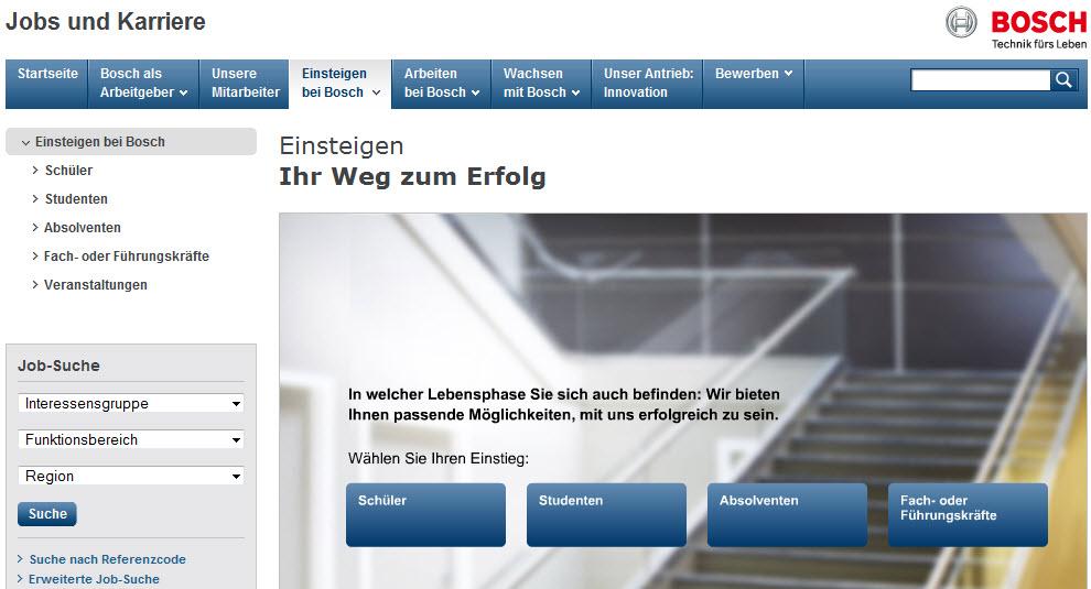 Verwirrende Navigation und verschenkter Platz auf der Bosch-Career Website