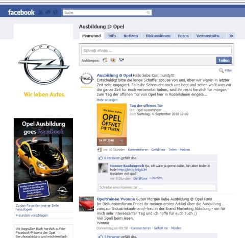 Die sympathische Karriere-Fanpage Ausbildung @ Opel