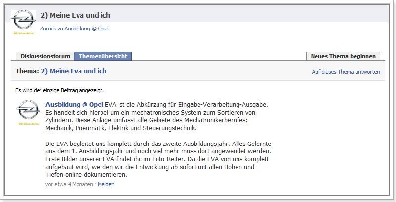 """Ausbildung @ Opel: Diskussionsforum als Infoportal """"Meine EVA und ich"""""""
