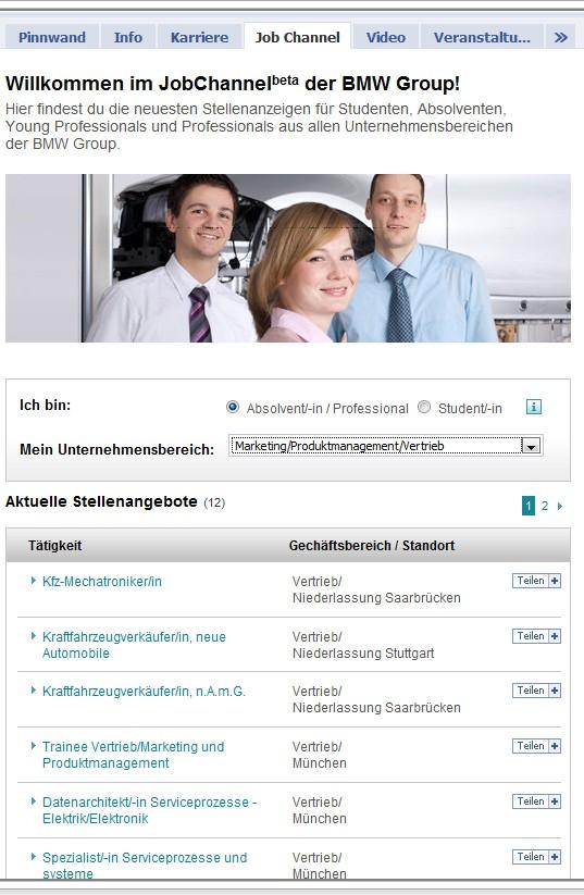 Der Job Channel von BMW Karriere - schön gemacht - mit sehr guten Filtermöglichkeiten und Share-Funktion