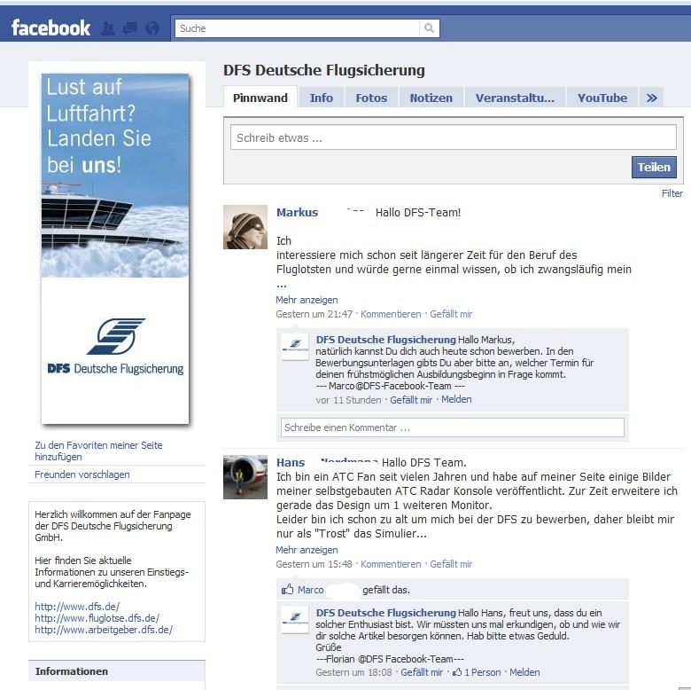 Die Fanpage der DFS Deutsche Flugsicherung - sympathischer, offener und ehrlicher Dialog