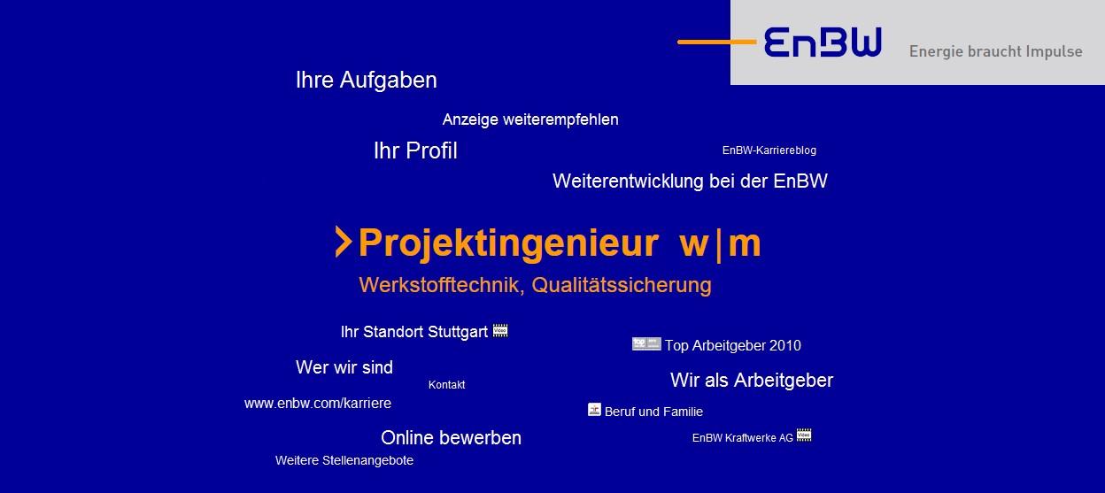 Die Stellenanzeige 2.0 in der Variante 2. EnBW sucht hier einen Projektingenieur