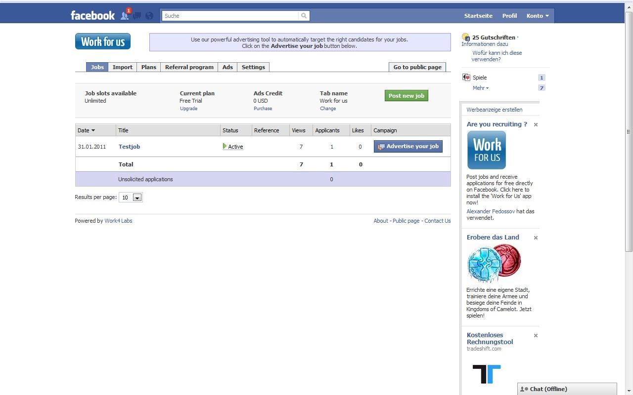 Work for Us Ansicht Admin-Panel. Eingestellte Jobs bequem verwalten