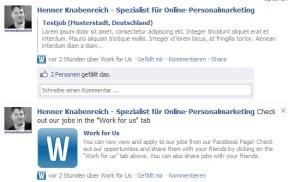Work for Us Ansicht Pinnwand. Aktuell gepostete Jobs werden direkt auf der Pinnwand der Seite angezeigt