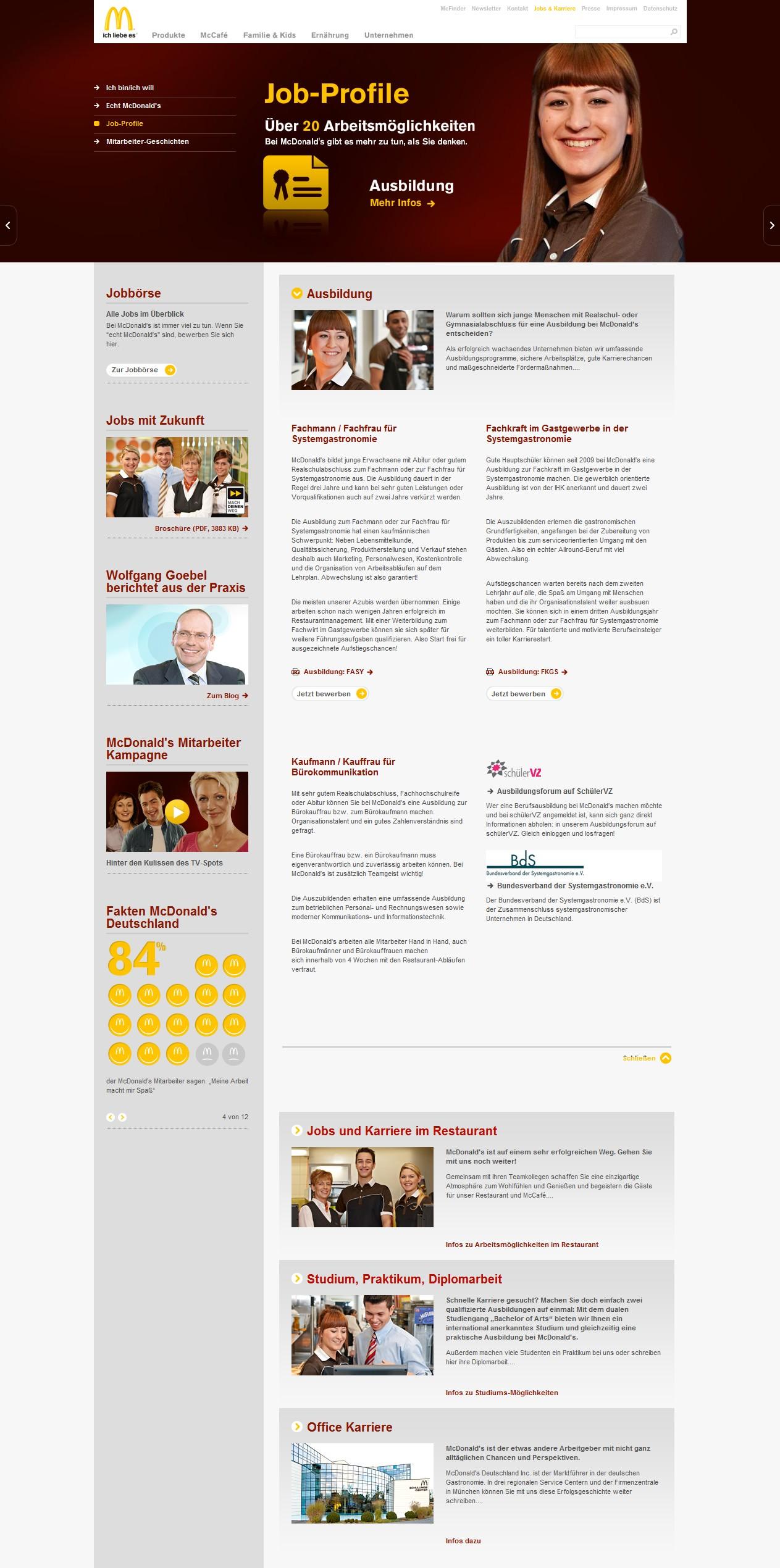 Der steinige Weg zur McDonalds-Bewerbung 4 - Um die Inhalte zu erfassen und bis zum Bewerbungslink hervorzustoßen, ist viel Scrollen erforderlich um Link zu erfassen