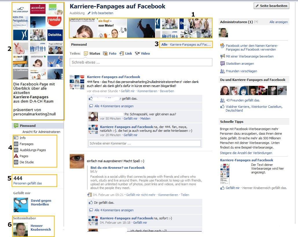 Die neue Facebook-Page Features am Beispiel von Karriere-Fanpages auf Facebook