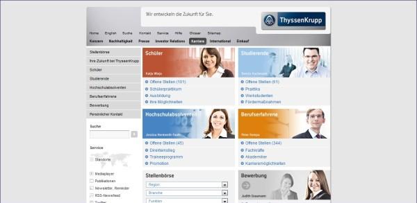 ThyssenKrupp Karriere: Klare Zielgruppenführung, übersichtliche Struktur, alle wesentlichen Infos auf einen Blick, direkte Anzeige der Jobs