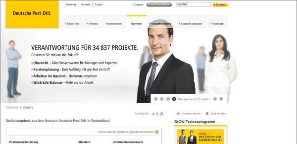 Deutsche Post: Klare Zielgruppenführung leider Fehlanzeige, unübersichtliche Struktur, Informationen lassen sich nicht auf einen Blick erfassen