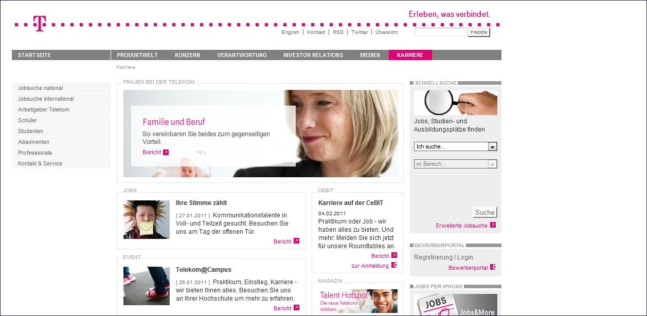 Telekom: Um 28 Plätze gefallen, Zielgruppenansprache, Übersichtlich, keine unmittelbare Anzeige der Jobs, nicht alle Inhalte zu erfassen