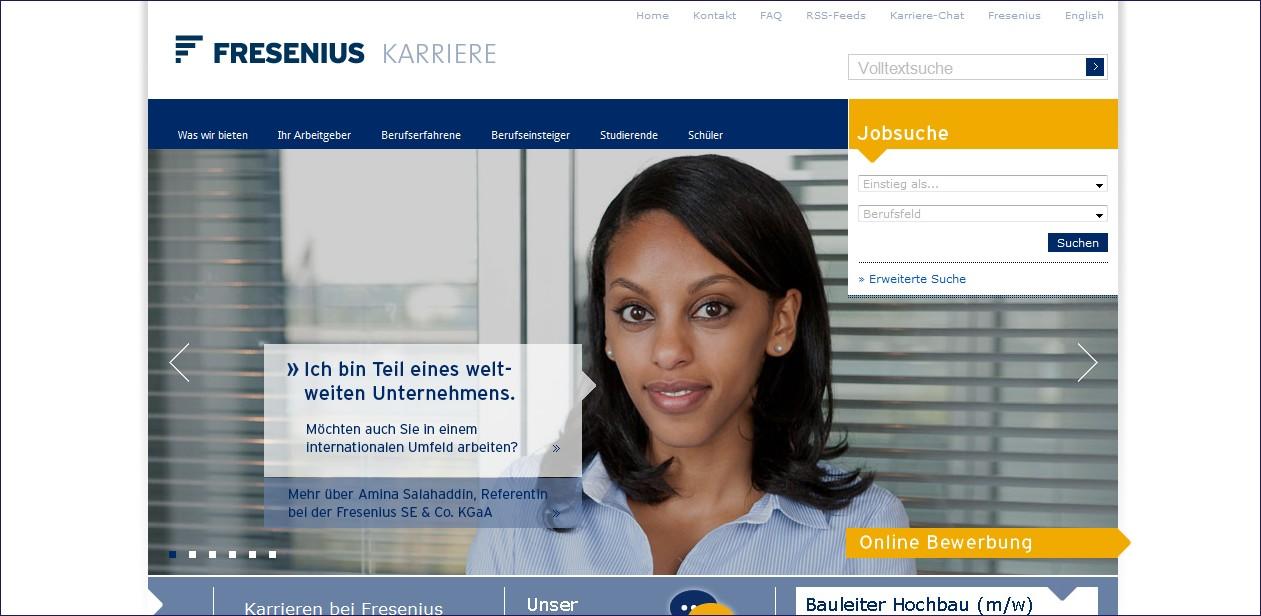 Fresenius: Emotional ansprechend, Zielgruppenführung, Jobwidget, Anzeige der Top Jobs