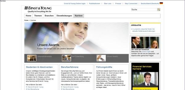 Ernst & Young: Unübersichtlich, wenig emotional, Zielgruppenführung, keine direkte Anzeige der Jobs