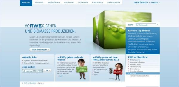 RWE: Zielgruppenführung, wenig emotional, keine direkte Anzeige der Jobs, verwirrende Navigation