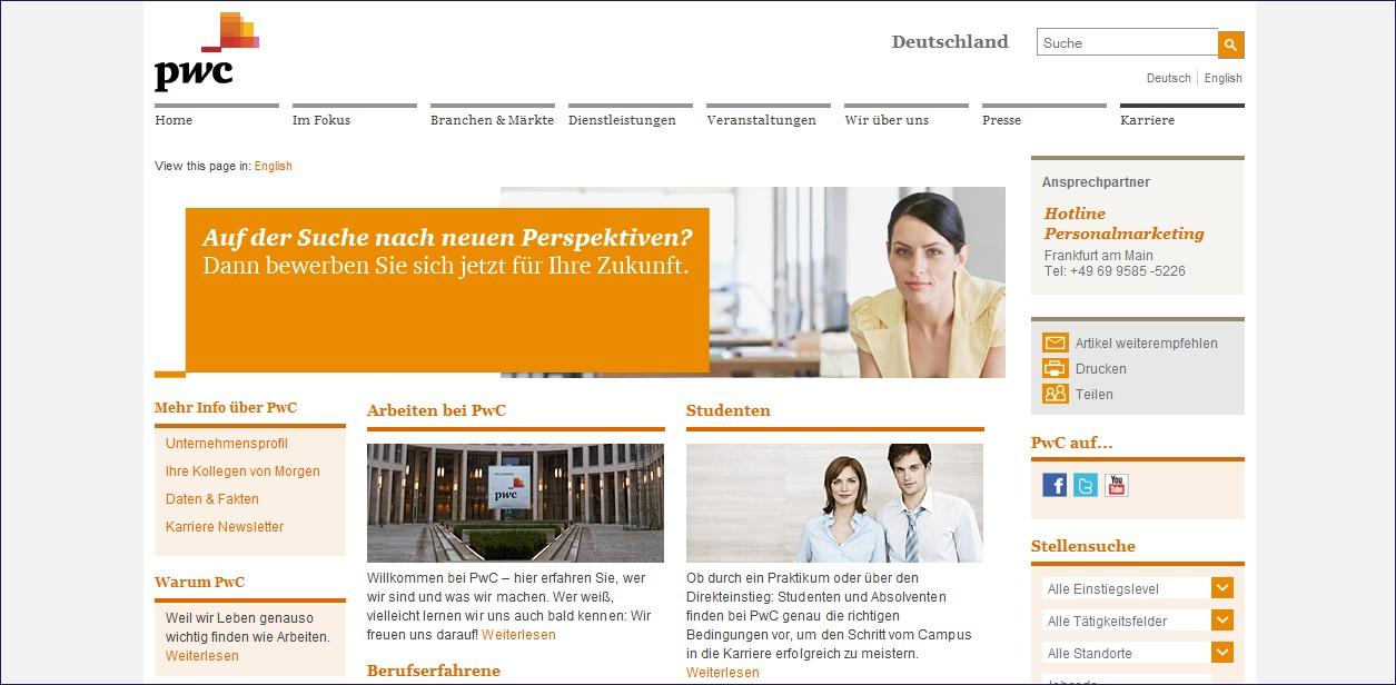 PWC Unübersichtliche, verwirrende Navigation, nicht alle Inhalte auf einen Blick zu erfassen, keine direkte Anzeige der Jobs