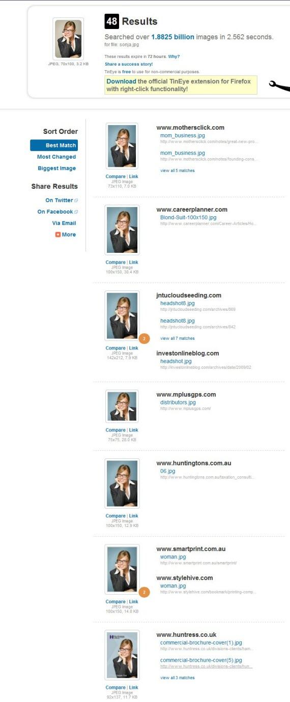 Sonja Christensen - die angebliche Marketing-Referentin findet man auf 48 Websites