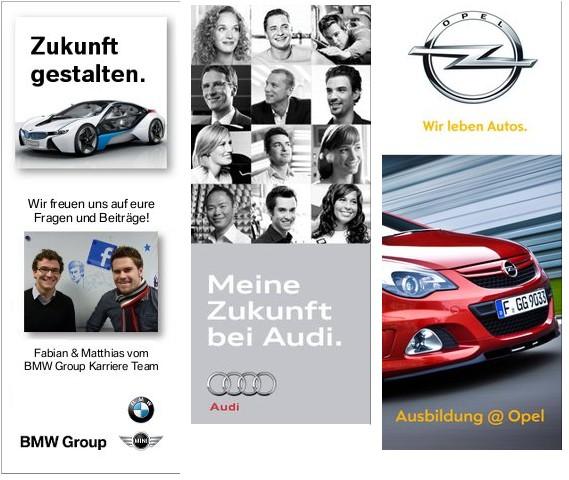 BMW, Audi und Opel mit optisch ansprechenden Profilbildern