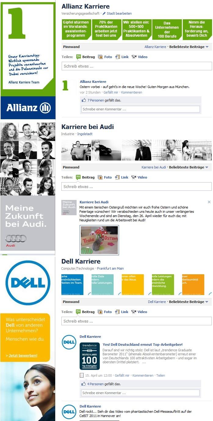 Branding mit Profilbild, Miniaturprofilbild und Bildergalerie auf den Seiten von Allianz, Audi und Dell