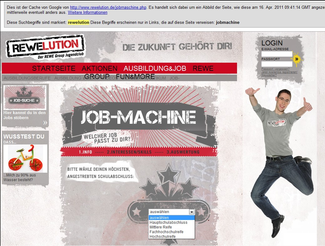 Google Cache der REWElution Job Machine