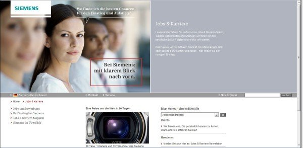 Siemens - Mit klarem Blick nach vorn. Geschickter Bezug zum Adressaten, stimmiger Text-/Bildbezug