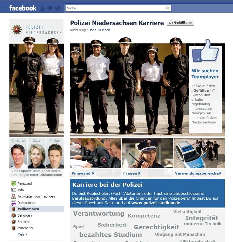 Karriere-Page der Polizei Niedersachsen auf Facebook