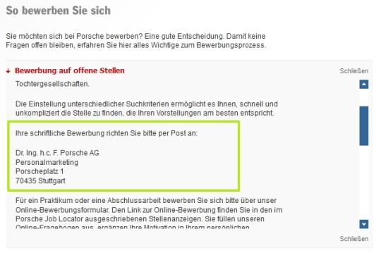 Anachronismus pur im Zeitalter von Social Media - Bewerbung an Porsche bitte nur per Post