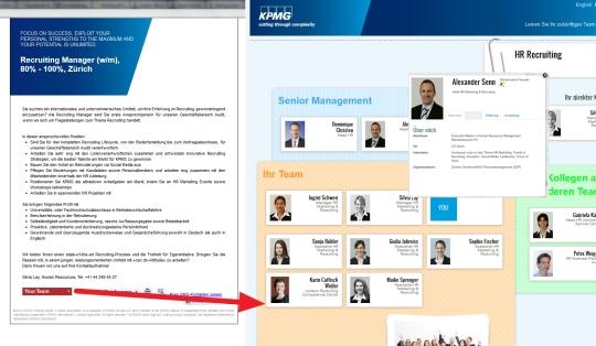 Eqipia - nächste Generation Jobinserate. Stellenausschreibung mit Integration des Teams am Beispiel KPMG Schweiz