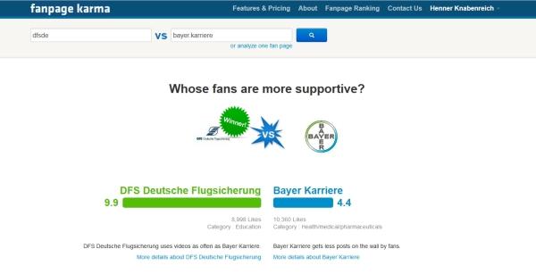 Fanpage Karma - Direkter Seitenvergleich ist möglich